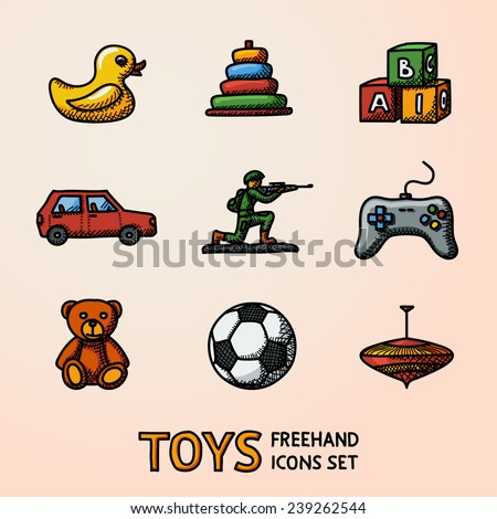 Toys hand drawn icons set with - car, duck, bear, pyramid, ball, game controller, blocks, whirligig, soldier. Vector