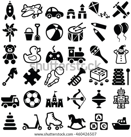 Toys icon collection - vector outline illustration and silhouette