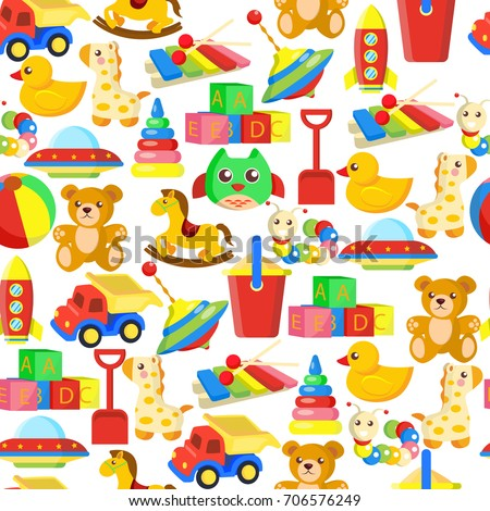Toys Pattern Or Kid Cartoon Seamless Background Design Template For Child Wallpaper Wrapping Paper And