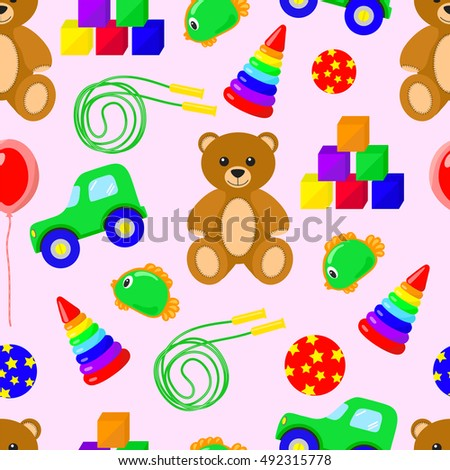 Toys seamless background vector illustration