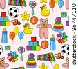 toys seamless pattern - stock vector