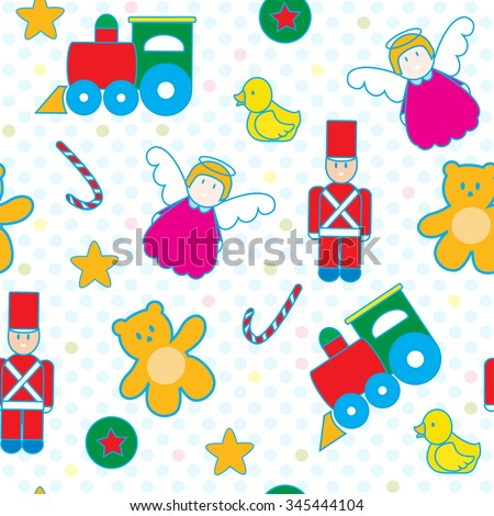 Toys seamless pattern vector. Swatches included.