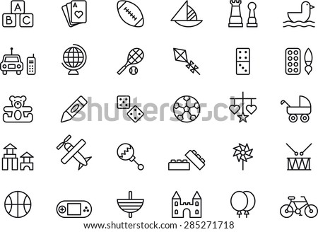 TOYS set, outlined icons - stock vector