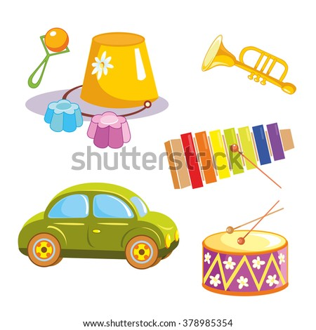 Toys. Toy car, bucket, rattle, glockenspiel, trumpet and drum