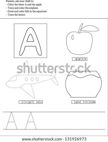 Trace Color Letter A Worksheet Preschoolers Stock Vector 131926973 ...