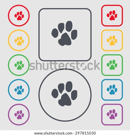 trace dogs icon sign. symbol on the Round and square buttons with frame. Vector illustration - stock vector