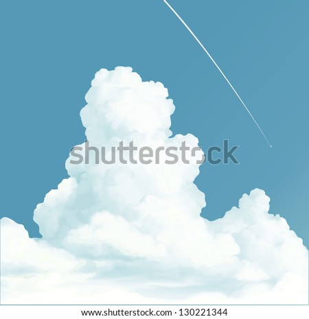 Trace of the plane in blue sky and white clouds - stock vector