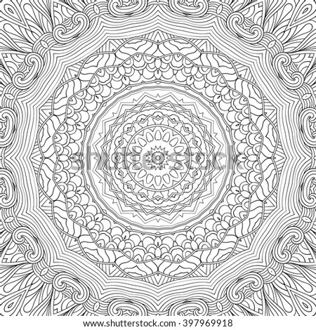 Tracery binary monochrome pattern. Mehendi carpet design. Neat even harmonious calming doodle texture. Also seamless. Indifferent discreet. Ambitious bracing usable, curved doodling mehndi. Vector. - stock vector