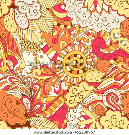 Tracery seamless calming pattern. Mehendi design. Ethnic colorful orange doodle texture. Indifferent discreet. Curved doodling mehndi motif. Vector.