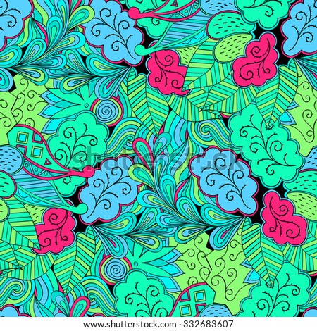 Tracery seamless calming pattern. Mehendi design. Neat even colorful blue green harmonious doodle texture. Algae motif. Indifferent discreet. Ambitious bracing usable, curved doodling mehndi. Vector.