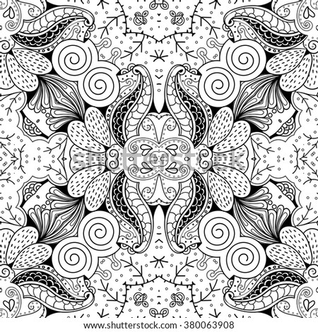 Tracery seamless calming pattern. Mehndi design. Neat even monochrome binary harmonious texture. Algae sea motif. Ethnically indifferent. Ambiguous usable bracing, curved doodling mehendi. Vector. - stock vector