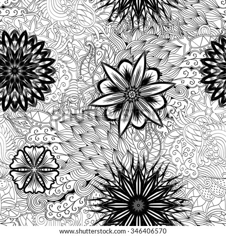 Tracery seamless pattern calming. Mehndi flowers design. Neat even doodle binary harmonious texture. Algae sea motif. Ethnically indifferent. Ambiguous usable bracing, curved doodling mehendi. Vector. - stock vector