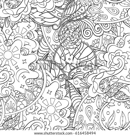 Seamless Pattern Psychedelic Groovy Peace Notebook Stock