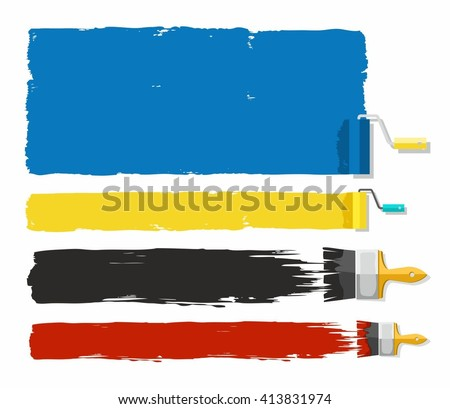 Traces of paint, frame for text, colored.    Frame for text in the form of paint applied with a painting roller and brush. Color pictures on a white background. Vector.