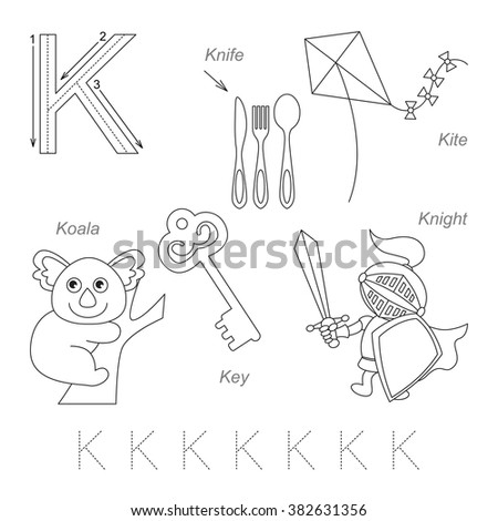 Tracing Worksheet Children Full English Alphabet Stock Vector ...