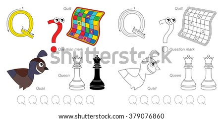 Tracing Worksheet for children. Full english alphabet from A to Z, pictures for letter Q - stock vector