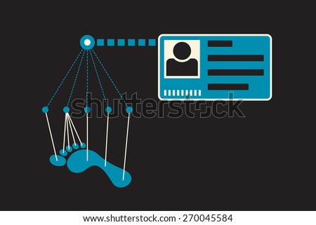 track back an identity of the person based on footprints - stock vector