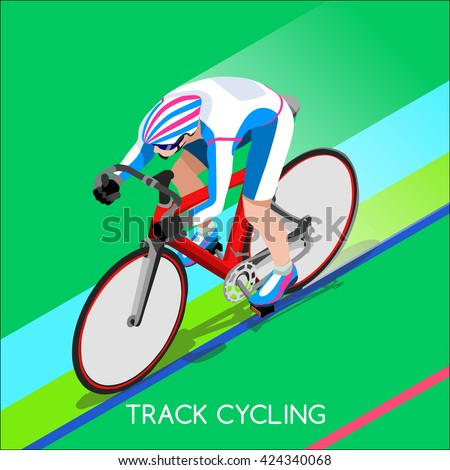 Track Cycling Cyclist Bicyclist Athletes Sportsman Games Brasil. 3D Isometric Athlete. Sporting Championship International Competition. Sport Infographic Track Cycling Race olympics Vector Image