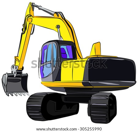 Tracked excavator, vector illustration, islotaed on white background - stock vector