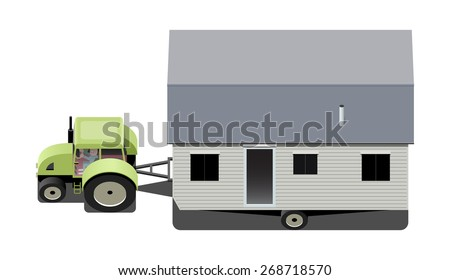 Tractor Carrying Mobile Home Vector Illustration RV Camping Truck
