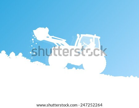 Tractor cleaning, unloading snow vector background concept - stock vector