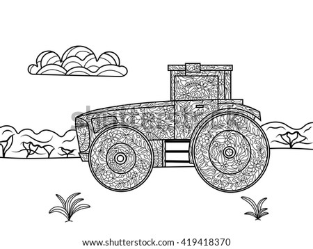 Tractor Coloring Book Adults Vector Illustration Stock Vector ...