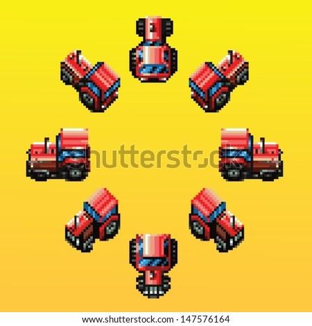 tractor eight directions retro pixel design vector illustration - stock vector