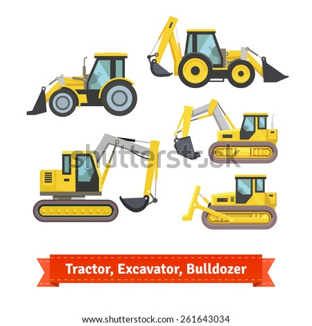 Tractor, excavator, bulldozer set. Wheeled and continuous track with blade and backhoe. Flat style illustration or icon. EPS 10 vector. - stock vector