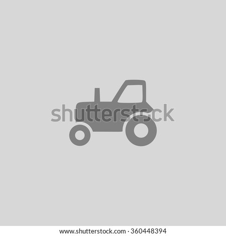tractor - Grey flat icon on gray background - stock vector