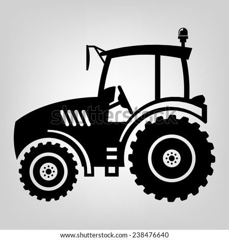 Tractor icon black vector macro farmer machine - stock vector