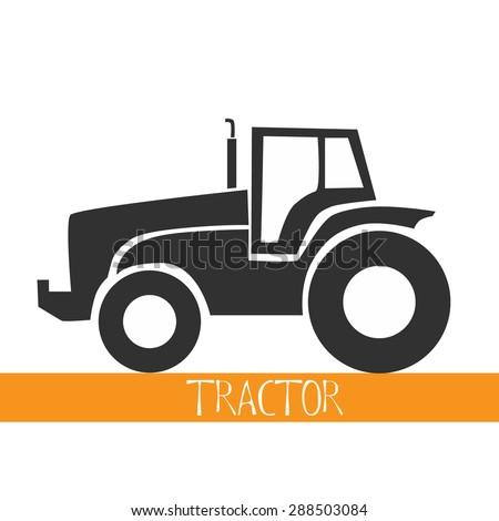 Tractor icon black vector macro farmer machine - stock vector
