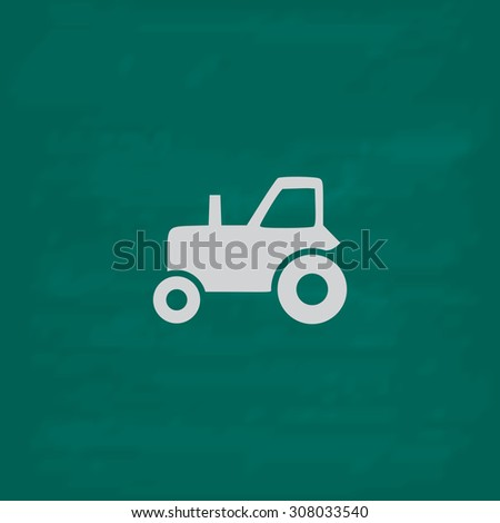 Tractor. Icon. Imitation draw with white chalk on green chalkboard. Flat Pictogram and School board background. Vector illustration symbol - stock vector