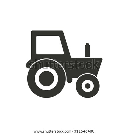 Tractor  icon  on white background. Vector illustration.