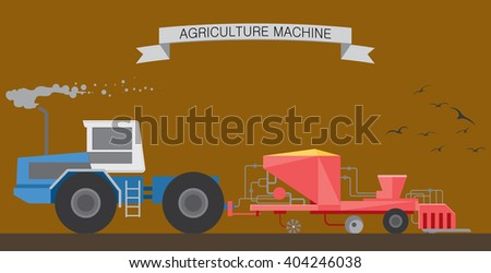 Tractor in the field. Spring sowing campaign. Seeding using advanced technology and equipment. Agriculture Industry. Vector illustration - stock vector