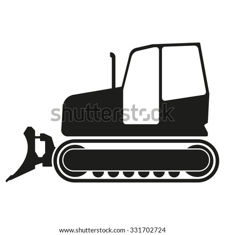 Tractor or bulldozer icon isolated on white background. Tractor grader silhouette. Vector illustration. - stock vector