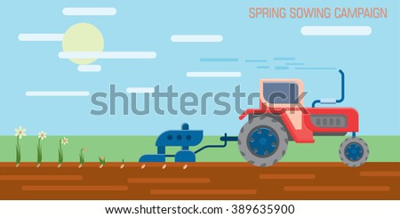 Tractor seeding machine works in a field. Rural landscape background. Agriculture machinery. Farm field works. Cultivation plants. Spring sowing. Vector illustration - stock vector