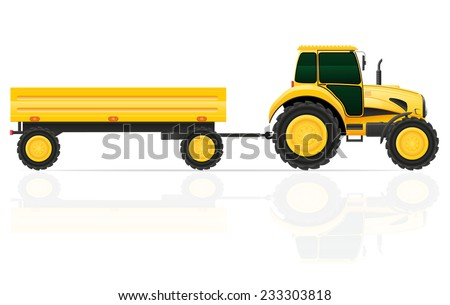 tractor trailer vector illustration isolated on white background - stock vector
