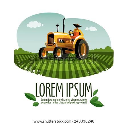 tractor vector logo design template. harvest or farm icon. - stock vector