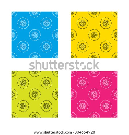 Tractor wheel icon. Tire service sign. Textures with icon. Seamless patterns set. Vector - stock vector