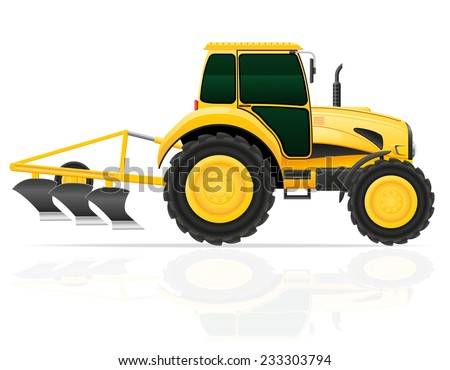 tractor with plow vector illustration isolated on white background - stock vector