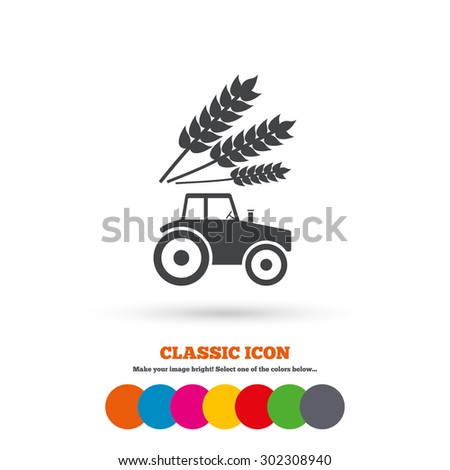 Tractor with Wheat corn sign icon. Agricultural industry symbol. Classic flat icon. Colored circles. Vector - stock vector
