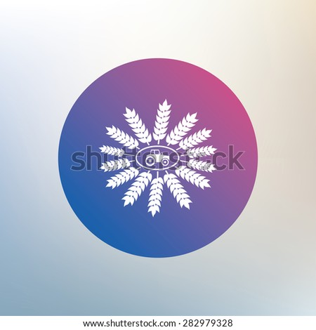 Tractor with wreath of Wheat corn sign icon. Agricultural industry symbol. Icon on blurred background. Vector - stock vector