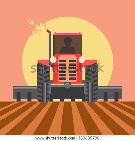 Tractor works in a field at the end of the day. Farming tractor. Tractor silhouette. Rural landscape at sunset background in warm tones. Cultivation plants. Spring sowing. Vector illustration - stock vector
