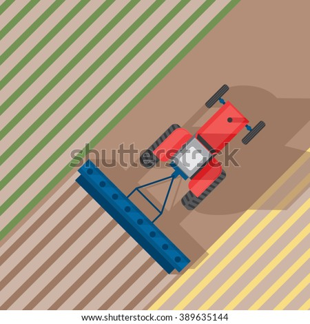 Tractor works in a field. View from above. Agriculture machinery. Plowing in the field. Cultivation plants. Spring sowing campaign. Vector illustration.