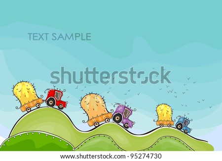 Tractors on the farm fields - stock vector
