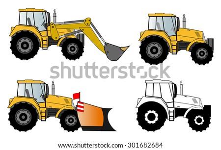 Tractors set - stock vector