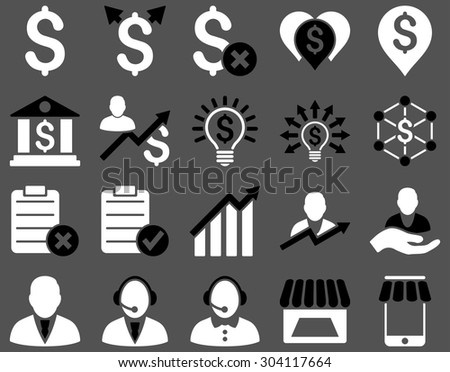 Trade business and bank service icon set. These flat bicolor icons use black and white colors. Images are isolated on a gray background. Angles are rounded. - stock vector