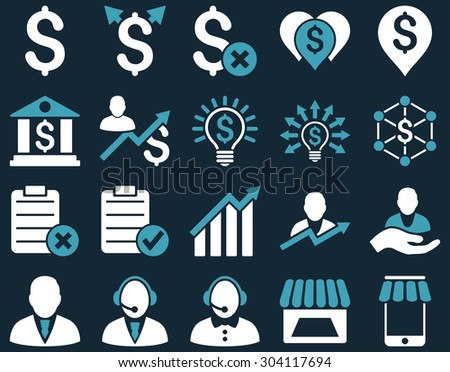Trade business and bank service icon set. These flat bicolor icons use blue and white colors. Images are isolated on a dark blue background. Angles are rounded. - stock vector