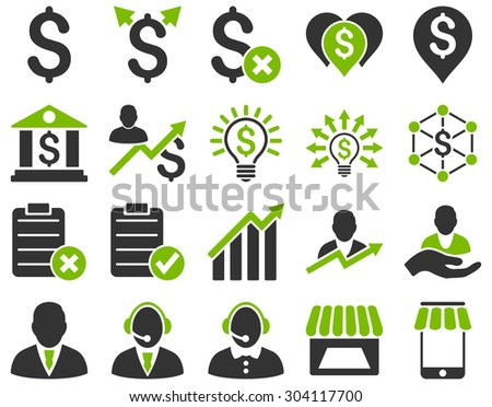 Trade business and bank service icon set. These flat bicolor icons use eco green and gray colors. Images are isolated on a white background. Angles are rounded. - stock vector