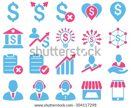 Trade business and bank service icon set. These flat bicolor icons use pink and blue colors. Images are isolated on a white background. Angles are rounded. - stock vector